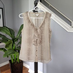 Banana Republic cream snakeskin pattern blouse
